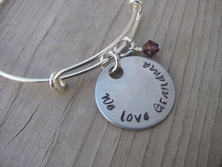 "Grandmother's Bracelet- ""We love Grandma"" Bracelet-  Hand-Stamped Bracelet- Adjustable Bangle Bracelet with an accent bead of your choice"