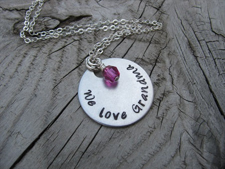 "Grandmother's Necklace- Hand-stamped ""We love Grandma""  - Hand-Stamped Necklace with an accent bead of your choice"