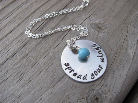 "Spread Your Wings Inspiration Necklace- ""spread your wings"" - Hand-Stamped Necklace with an accent bead in your choice of colors"