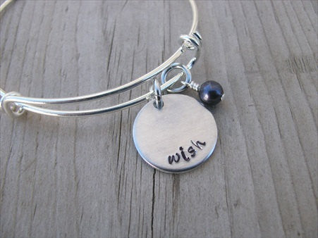 "Wish Inspiration Bracelet- ""wish""  - Hand-Stamped Bracelet  -Adjustable Bangle Bracelet with an accent bead of your choice"