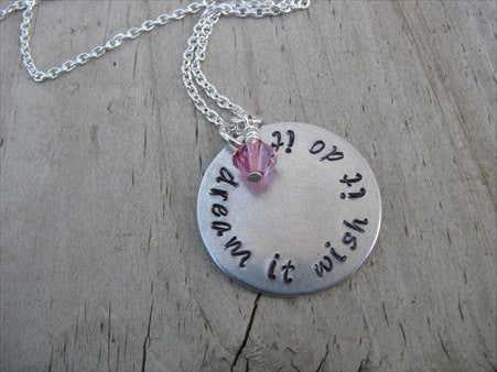 "Inspiration Necklace- ""dream it wish it do it""  - Hand-Stamped Necklace with an accent bead in your choice of colors"