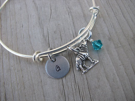 Wolf Charm Bracelet- Adjustable Bangle Bracelet with an Initial Charm and an Accent Bead of your choice