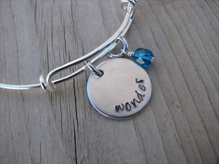 "Wonder Inspiration Bracelet- ""wonder""  - Hand-Stamped Bracelet  -Adjustable Bangle Bracelet with an accent bead of your choice"