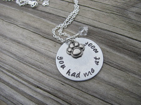 "Pawprint Necklace- Dog Lover Necklace- Hand-Stamped ""you had me at woof"" with pawprint - Hand-Stamped Necklace with an accent bead of your choice"