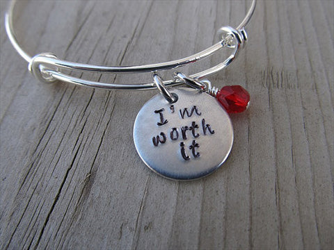 "I'm Worth It Inspiration Bracelet - ""I'm worth it"" Bracelet-  Hand-Stamped Bracelet- Adjustable Bangle Bracelet with an accent bead of your choice"
