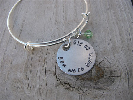 "You Were Born to Fly Bracelet- ""you were born to fly"" - Hand-Stamped Bracelet- Adjustable Bangle Bracelet with an accent bead of your choice"