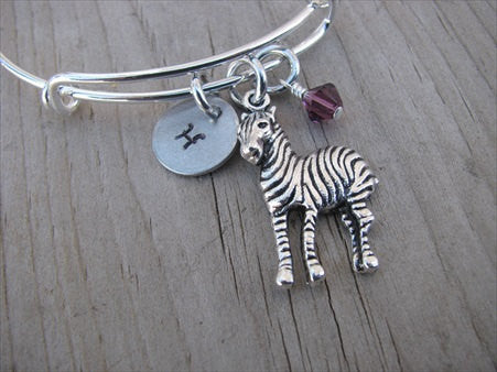 Zebra Charm Bracelet- Adjustable Bangle Bracelet with an Initial Charm and an Accent Bead of your choice