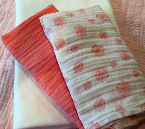 Coral Dandelions Double Gauze Quilt Kit - fabrics & batting