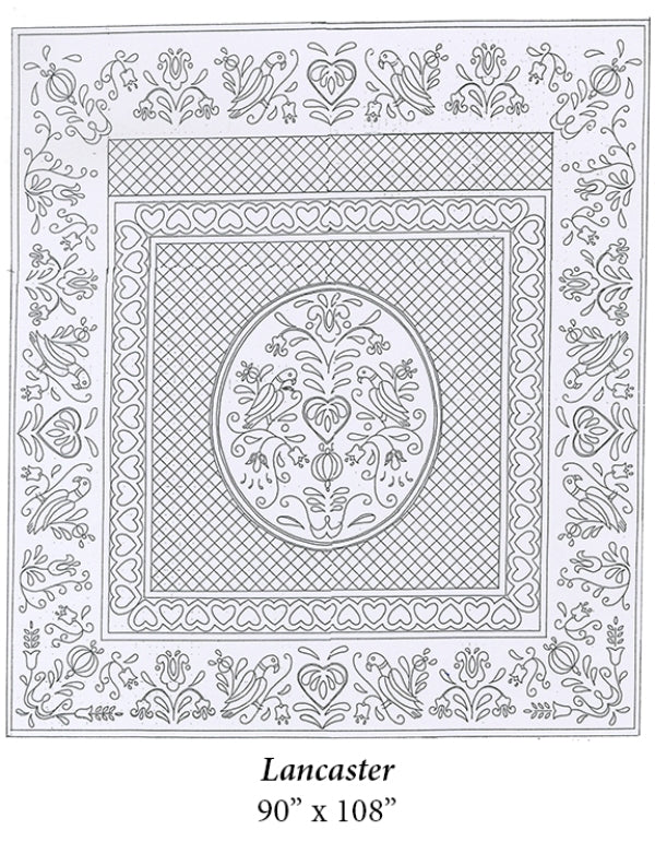 "Lancaster Premarked Wholecloth Quilt Top - White - 90""x108"""