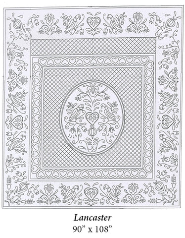 "Lancaster Premarked Wholecloth Quilt Top - White - 90""x100"""