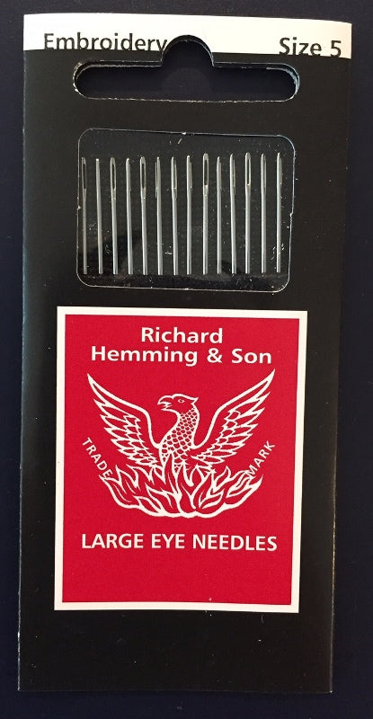 Richard Hemming Large Eye Embroidery/Crewel Needles sz 5
