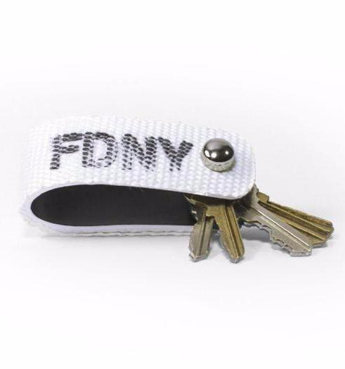 fire hose keychain featuring authentic FDNY stencil stamp in black.