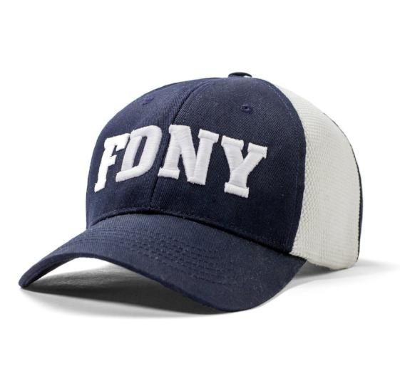 Embroidered FDNY logo hat with authentic FDNY fire hose panels.