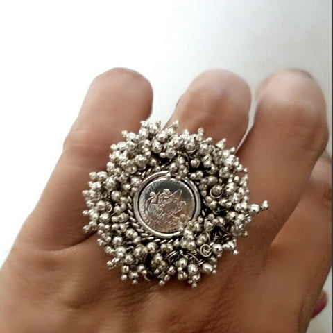 Goddess Laxmi Silver Statement Ring
