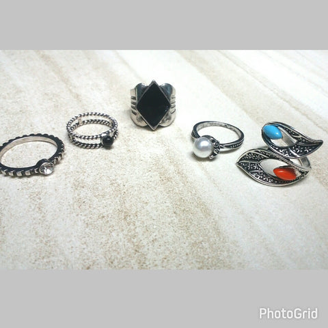 Coachella Silver Ring Set (Set of 5)