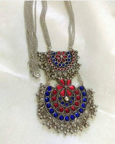 Afghaani Blue and Red Stone two layered statement long necklace