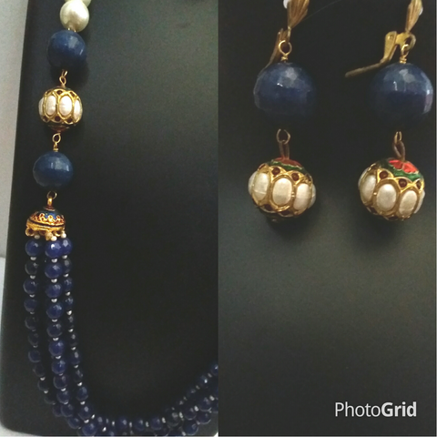 Exclusive dark blue multilayered beads traditional necklace set