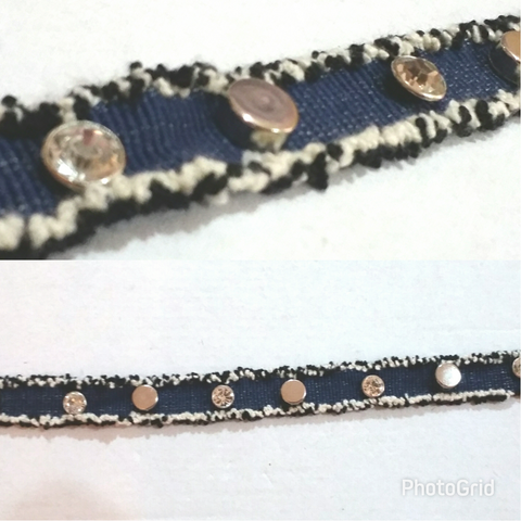Frayed Denim Stud Choker