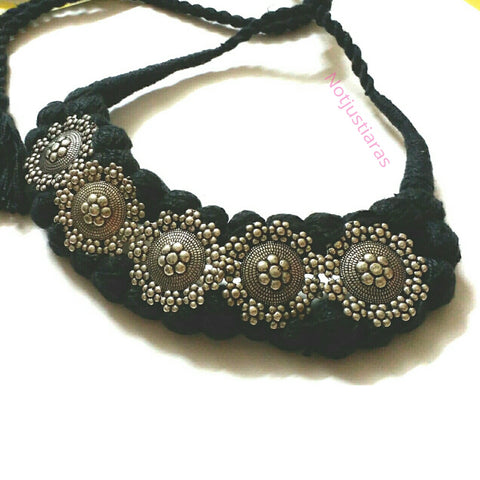Braided Black Choker Necklace
