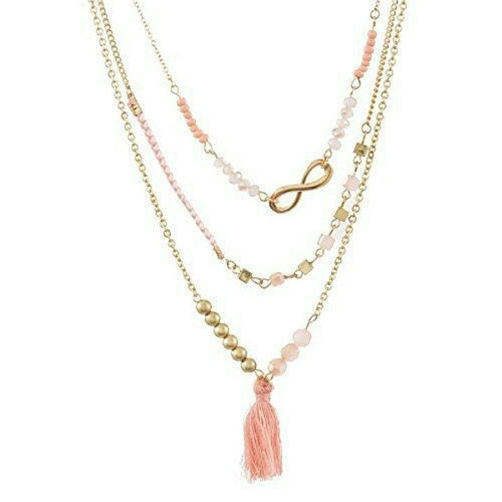 Peach tassel and crystal beads layered necklace