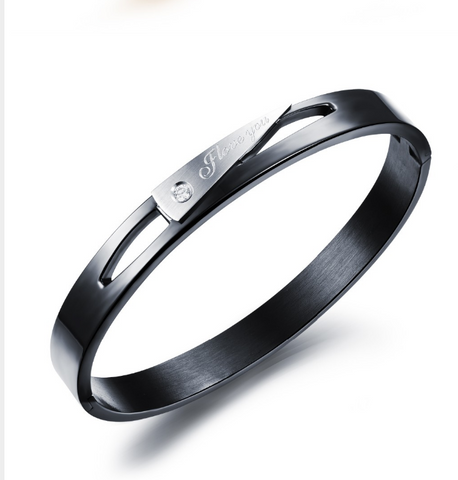 Black pure stainless steel super quality I LOVE YOU bracelet.. (UNISEX)