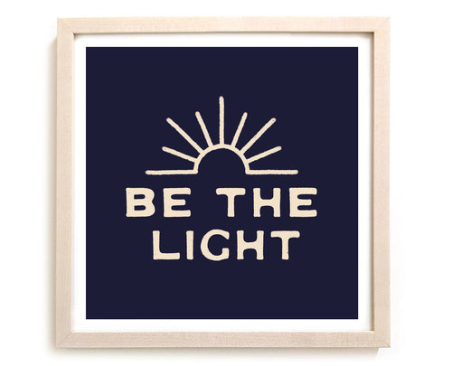 "Contemporary Art Print ""Be The Light"" Navy"
