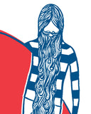 "Surfing Art Print ""Blue Beard"""