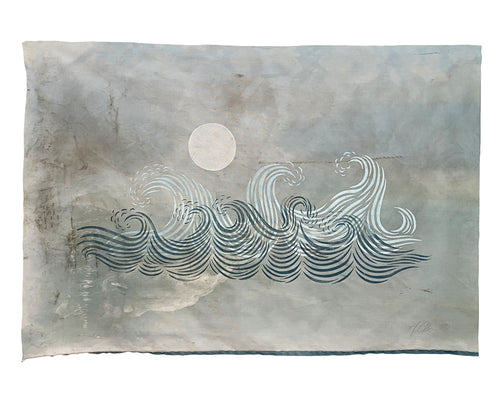 "Original 29""x42"" ""Blue Yonder"" Linocut Print on Vintage Marine Fabric"