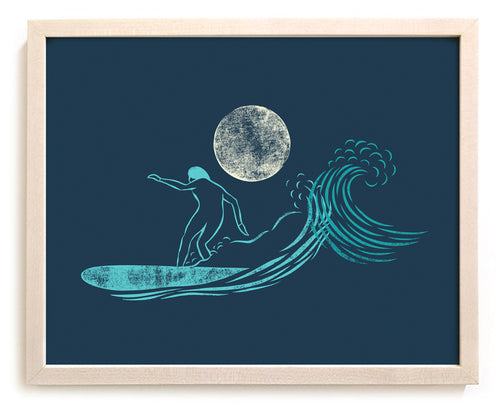 "Surfing Art Print ""Evening Glide"""