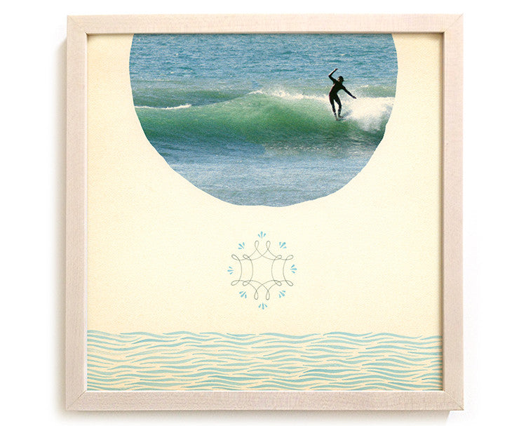"Surfing Art Print ""Face Of The Deep"" - Mixed Media"