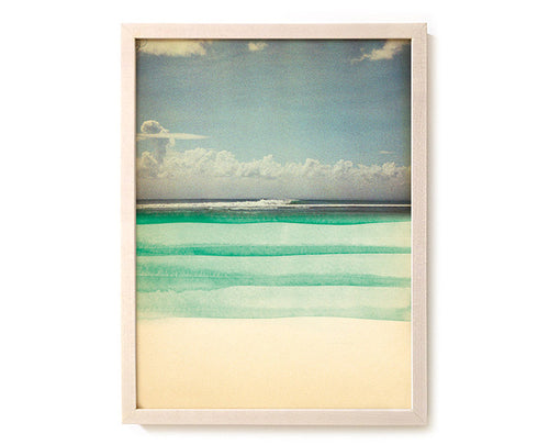 "Surfing Art Print ""Green Shore"" - Mixed Media"