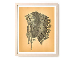 "Limited Edition Native American Art Print ""Headdress"""