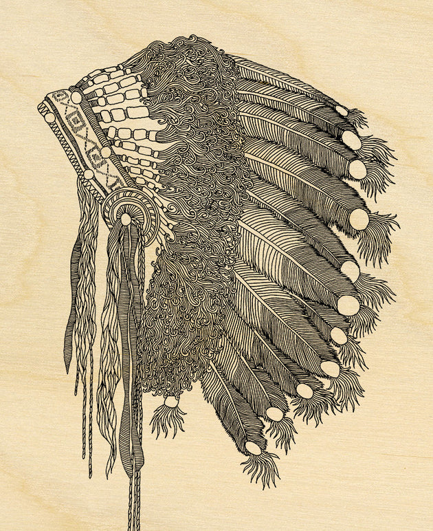 "Native American Art Wood Print Limited Edition ""Headdress"""