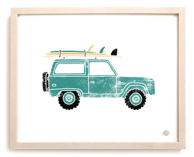 Surfing Art Print Jeep""