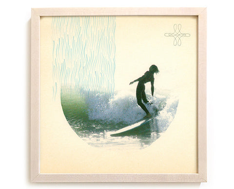 "Surfing Art Print ""His Mighty Downpour"" - Mixed Media"