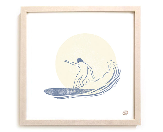 "Limited Edition Surf Art Print ""Moonrise Glide"""