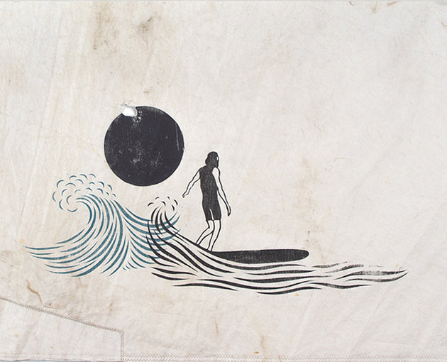 "Original 30""x51"" ""New Dawn"" Linocut Print on Vintage Sailcloth"