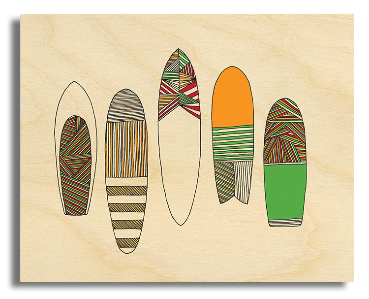 "Surf Art Wood Print Limited Edition ""New Friends Surfboards"""