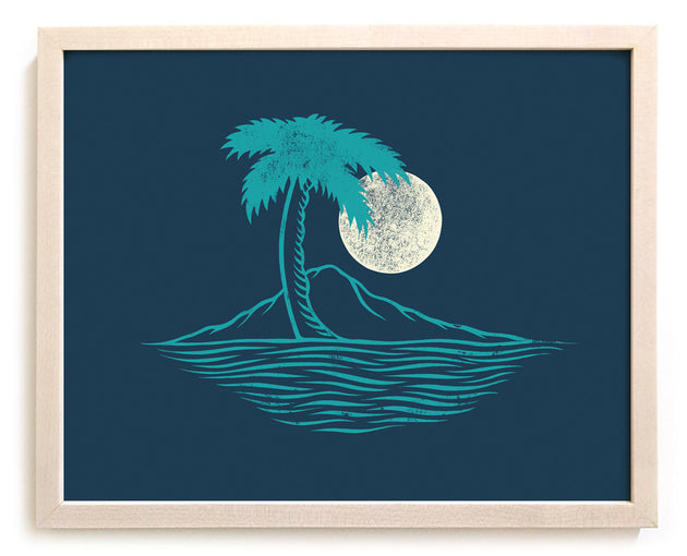 "Surfing Art Print ""Palm Island"""