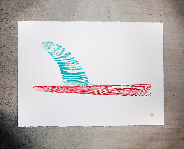"Original Surfboard Fin Wood Cut Print 22""x30"" Turquoise/Red"
