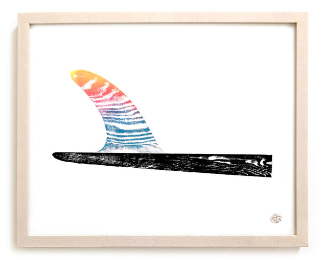 "Surfing Art Print ""Sunset Fin"""