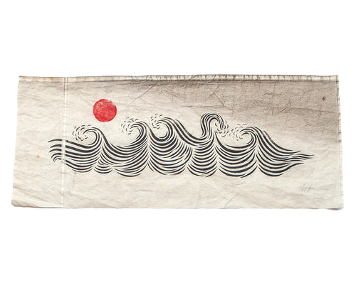 "Original 40""x18"" ""Sunset Sea"" Linocut Print on Vintage Sailcloth"