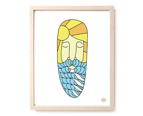 "Surfing Art Print ""Surf Beard"""