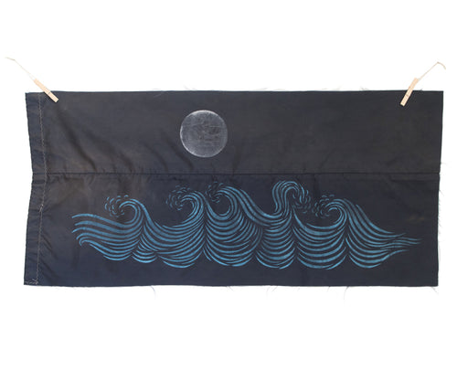 "Original 18""x38.5"" ""The Moon & The Sea"" Linocut Print on Vintage Marine Canvas"