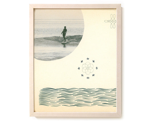 "Limited Edition Surfing Art Print ""In The Beginning Was The Word"" - Mixed Media"