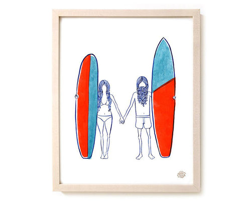 "Surfing Art Print ""Together"""