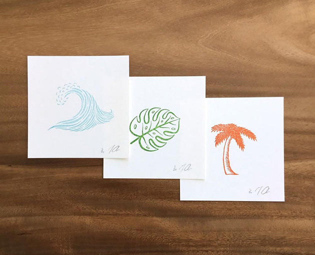 "Limited Edition Linocut Print Set of 3 ""Wave Leaf Palm"""