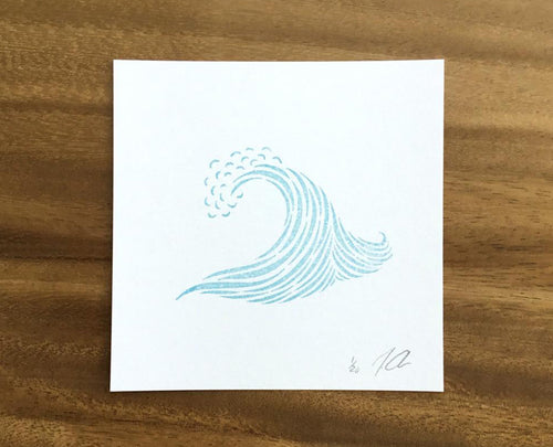 "Limited Edition Linocut Print ""One Wave"""