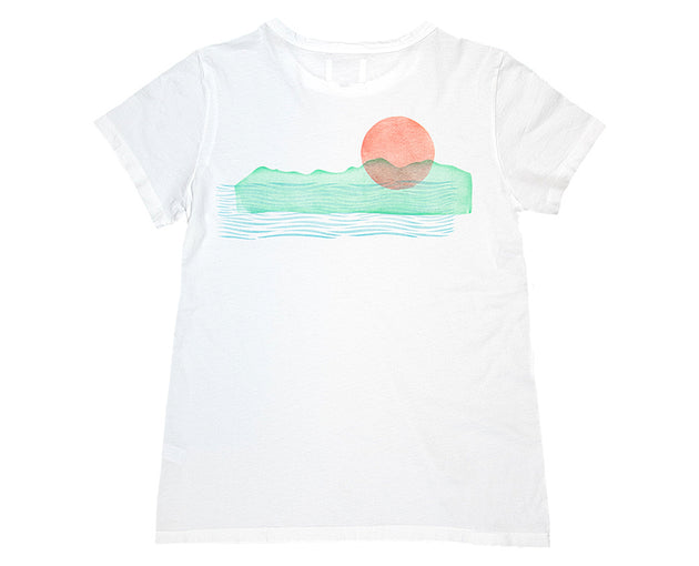 """Western Sun"" Womens Hand Block Printed T-Shirt (Limited Edition)"