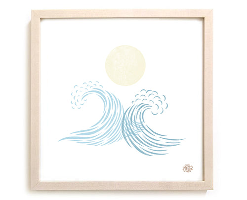 "Surfing Art Print ""You And Me In The Moonlight"""